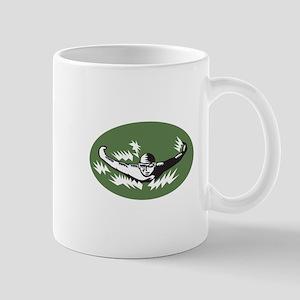 Swimmer Butterfly Stroke Swimming Woodcut Mugs