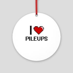 I Love Pileups Digital Design Round Ornament