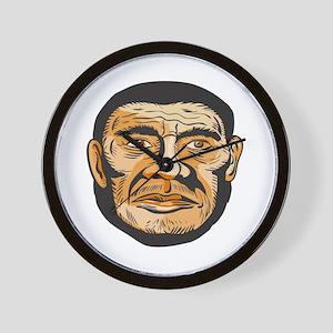 Neanderthal Man Head Etching Wall Clock