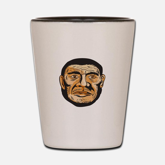 Neanderthal Man Head Etching Shot Glass