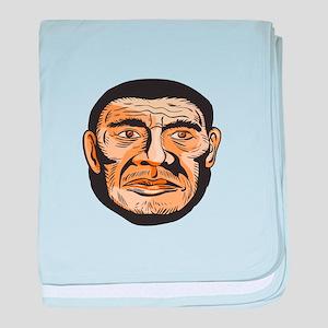 Neanderthal Man Head Etching baby blanket