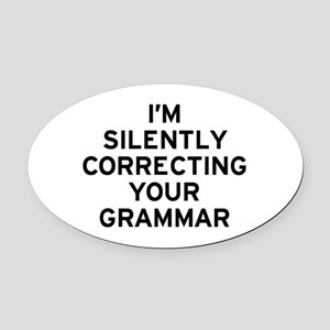 I'm Silently Grammar Oval Car Magnet
