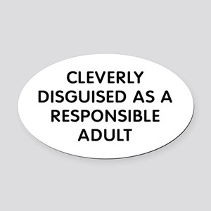 Cleverly Adult Oval Car Magnet