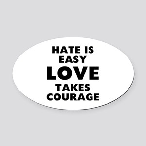Hate Love Oval Car Magnet