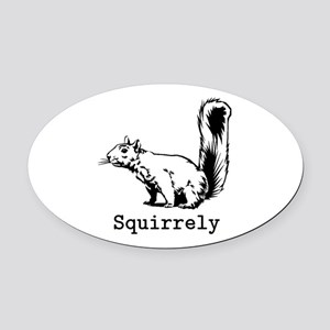 Squirrely Oval Car Magnet