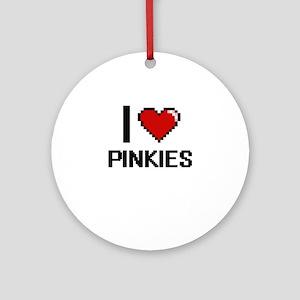 I Love Pinkies Digital Design Round Ornament
