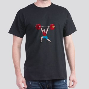 Weightlifter Lifting Barbell Isolated Cartoon T-Sh