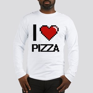 I Love Pizza Digital Design Long Sleeve T-Shirt