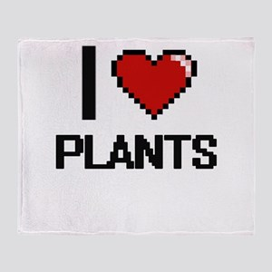 I Love Plants Digital Design Throw Blanket