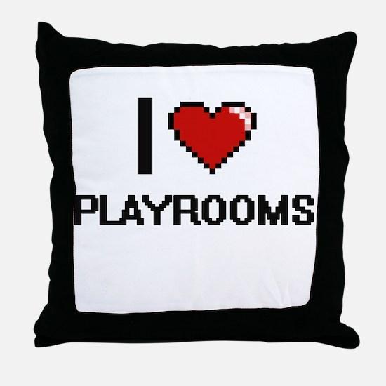 I Love Playrooms Digital Design Throw Pillow