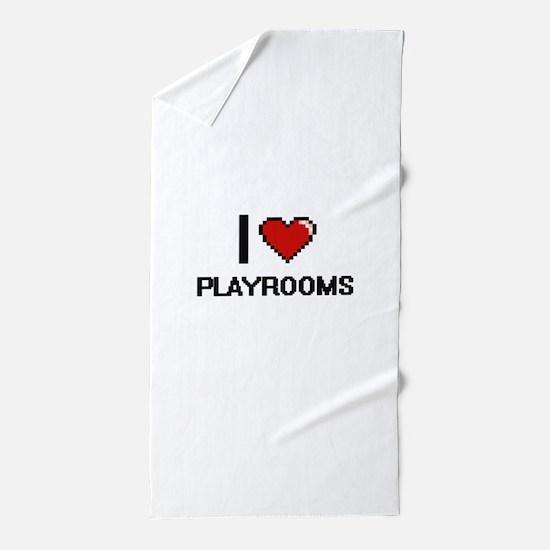 I Love Playrooms Digital Design Beach Towel
