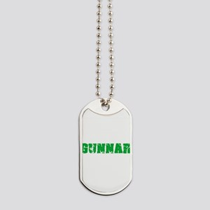 Gunnar Name Weathered Green Design Dog Tags