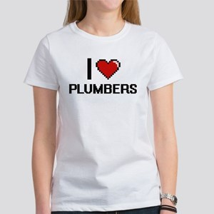 I Love Plumbers Digital Design T-Shirt