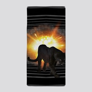 electric keyboard black panther Beach Towel