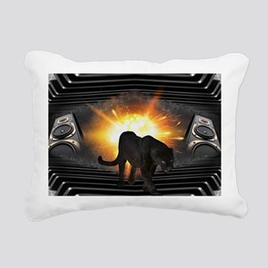 electric keyboard black Rectangular Canvas Pillow