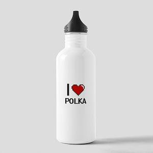 I Love Polka Digital D Stainless Water Bottle 1.0L