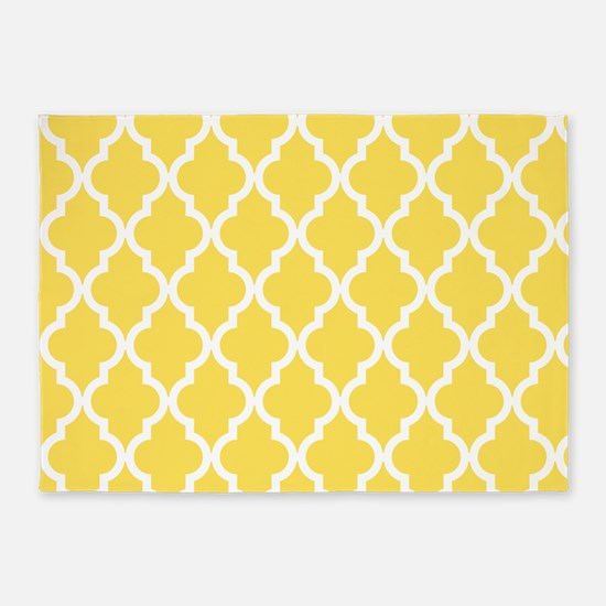 Yellow, Canary: Quatrefoil Moroccan 5'x7'Area Rug
