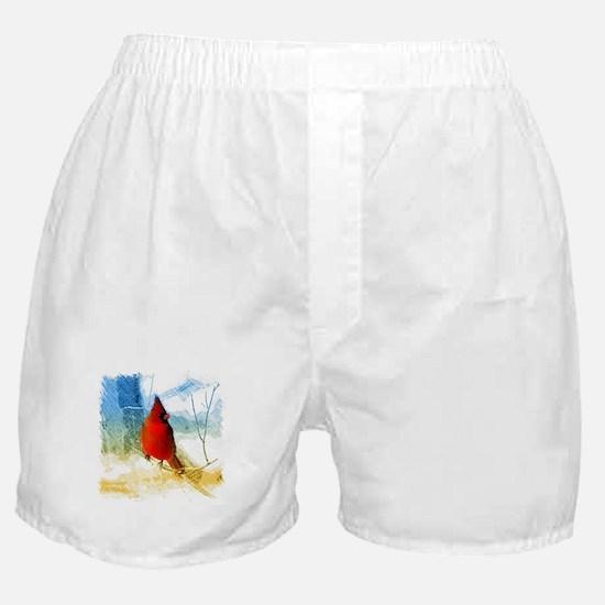 watercolor winter red cardinal Boxer Shorts