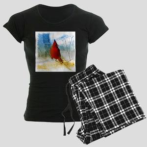 watercolor winter red cardin Women's Dark Pajamas