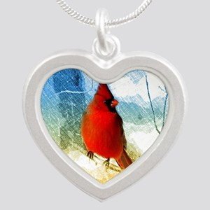 watercolor winter red card Necklaces