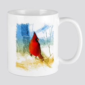 watercolor winter red cardinal Mugs