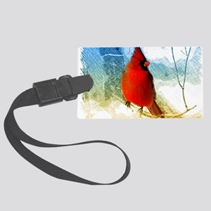 watercolor winter red cardinal Large Luggage Tag