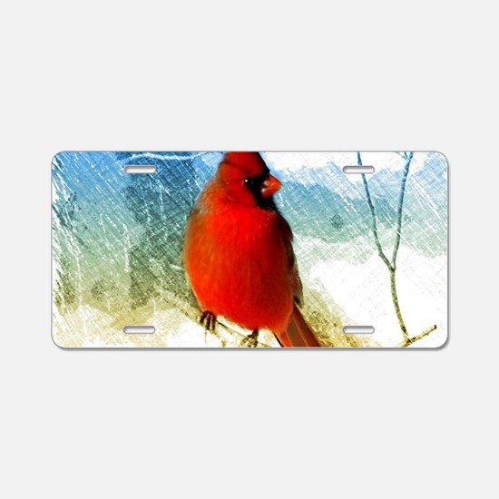 watercolor winter red cardi Aluminum License Plate