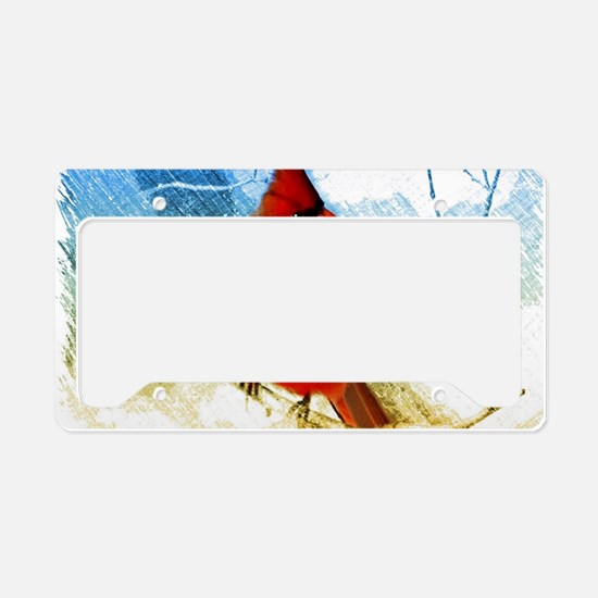 watercolor winter red cardina License Plate Holder