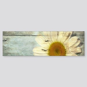 shabby chic country daisy Bumper Sticker