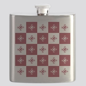 Checkered Christmas Red Snowflakes Pattern Flask