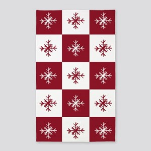 Checkered Christmas Red Snowflakes Patter Area Rug