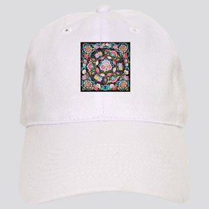 turquoise pink flowers bohemian Cap