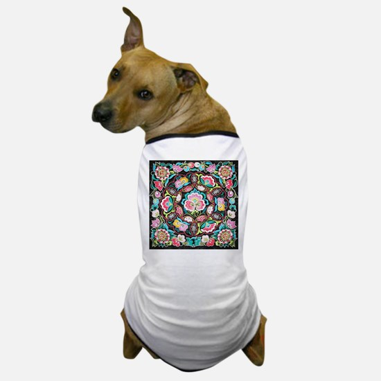 turquoise pink flowers bohemian Dog T-Shirt