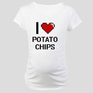 I Love Potato Chips Digital Desi Maternity T-Shirt