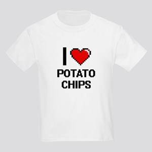 I Love Potato Chips Digital Design T-Shirt