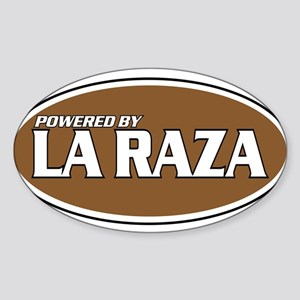 Powered By La Raza Oval Sticker