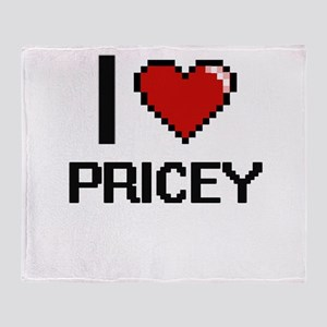 I Love Pricey Digital Design Throw Blanket