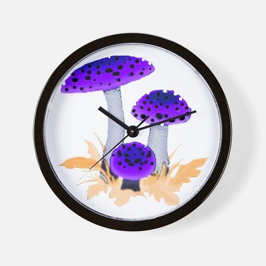 Purple Mushrooms Wall Clock