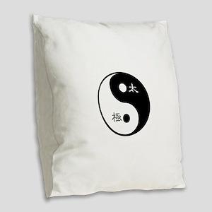 Tai Chi Yin Yang Symbol Burlap Throw Pillow