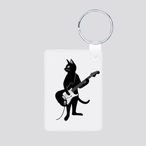 Cat Playing The Electric Guitar Keychains
