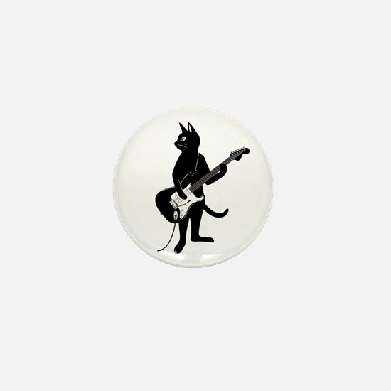 Cat Playing The Electric Guitar Mini Button