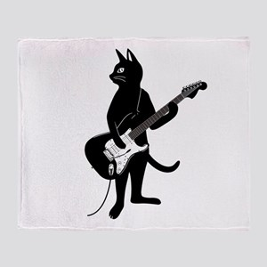 Cat Playing The Electric Guitar Throw Blanket
