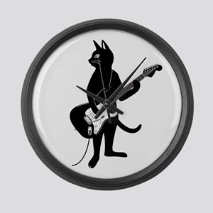 Cat Playing The Electric Guitar Large Wall Clock