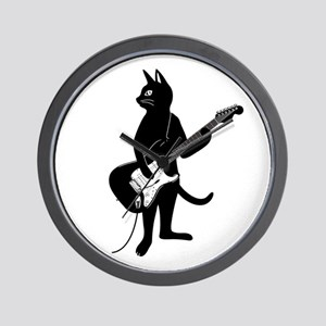Cat Playing The Electric Guitar Wall Clock
