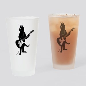 Cat Playing The Electric Guitar Drinking Glass