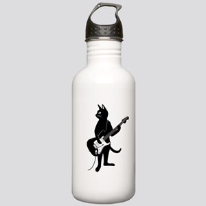 Cat Playing The Electric Guitar Water Bottle