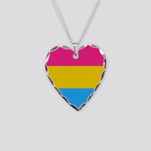 Pansexual Pride Flag Necklace Heart Charm