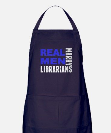 Real Men Marry Librarians Apron (dark)