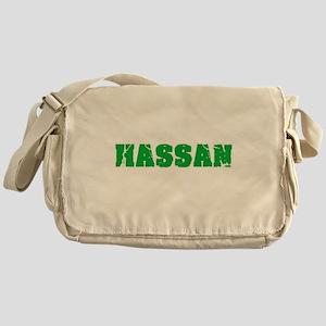 Hassan Name Weathered Green Design Messenger Bag