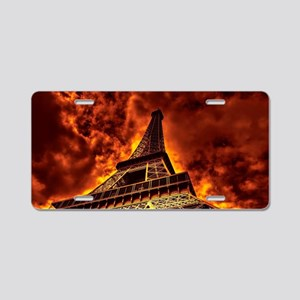 Eiffel Tower in fire Aluminum License Plate